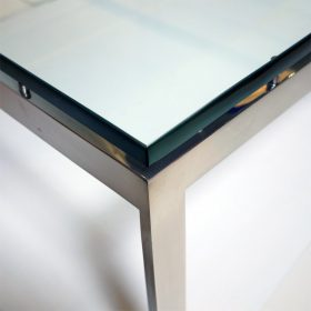Corner detail of stainless steel coffee table by john vesey