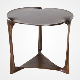 Side table by Vladimir Krasnogorov for Thomas W. Newman. Exclusively at Good Design. Solid carved walnut.